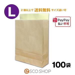 宅配袋 クラフト 大 Lサイズ 100枚 テープ付き 茶色 無地(100袋 梱包袋 未晒 日本製 梱包資材 紙袋 宅急便 bagL)(2個で送料無料)|escoshop