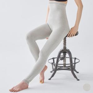 肌側シルク 外側オーガニックコットン ボタニカルダイ 腹巻レギンス ホールガーメント 日本製 レディース グレー|eses