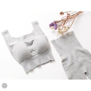 肌側シルク ソフトブラジャー&腹巻パンツのセット ホールガーメント 日本製 レディース グレー M-L|eses