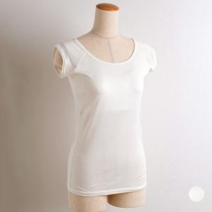 シルク100% カップ付き&汗取りインナー フレンチ袖 日本製 オフホワイト 白 M/L eses