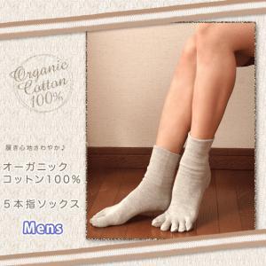 「メンズ」オーガニックコットン 5本指 靴下「日本製」|eses