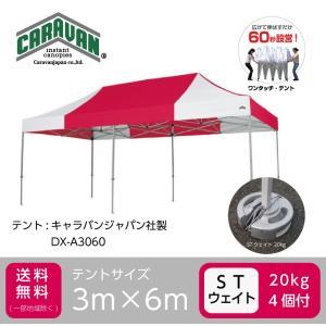 アルミ製テント1張+鋳物製ウェイト4個セット CARAVAN DX-A3060 3m×6m シナノトレーディング製鋳物ウェイト ワンタッチテント タープテント 日よけ|esheetpro