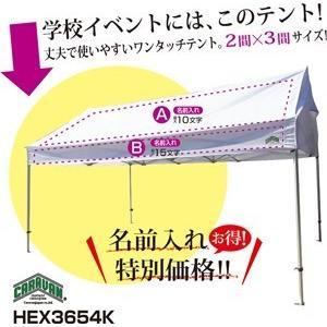 テント 3.6m×5.4m (2間×3間) アルミ製軽量フレーム 切妻 CARAVAN HEX-3654K 送料無料 最強高度の簡単設置 名入れ料込 日除け 日よけ イベント キャラバン|esheetpro
