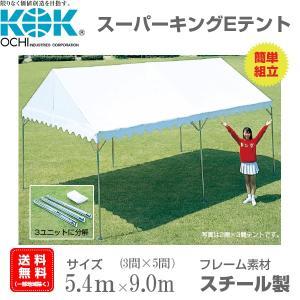 組立式パイプテント 3間×5間(5.4m×9m) スーパーキングEテント スチール製フレーム 組立簡単 天幕素材ターポリン|esheetpro