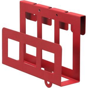 ハイタイプ・背面収納付 壁よせTVスタンド ウォール (HDDホルダー, レッド)|eshimi404