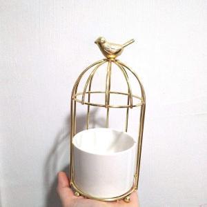 植木鉢 陶器鉢 植物鉢 花鉢 Fukuka サボテン鉢 ミニ多肉植木鉢 おしゃれ シンプルなデザイン 置物 インテリア鳥籠型 (金色) eshimi404