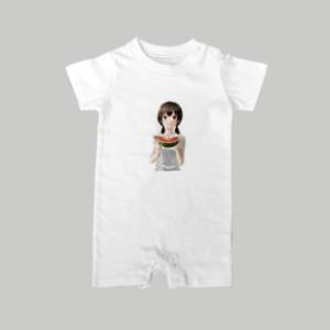 Kiku様作のスイカを食べている女の子のイラストをグッズ化しました。 / ロンパース / 赤ちゃん ...