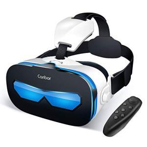 Canbor VR ゴーグル スマホ VRヘッドセット 3D メガネ 動画 ゲーム Bluetoot...