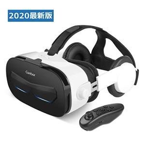Canbor VRゴーグル スマホ用 VRヘッドセット ヘッドホン付き コントローラ リモコン 受話...