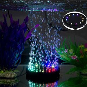 水槽・アクアリウム エアストーン ミニ気泡ストーン 水槽用空気石 12LED水槽ライト付き 酸素補給 水槽装飾 観賞|eshop-smart-market