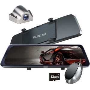 WOLFBOX IDR技術 ドライブレコーダーミラー型 前後カメラ 10インチ 前カメラ分離式 1080P前後同時録画 タッチパネル 防水リアカメラ 32GBカード付属 eshop-smart-market