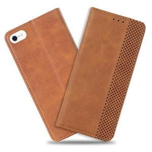 iPhone 7/8 ケース 手帳型 カバー iPhone SE2 第2世代 携帯電話ケース おしゃれ 超薄型 高級PU合皮レザー カード収納 マグネット スタンド機能 (ライトブラウン) eshop-smart-market