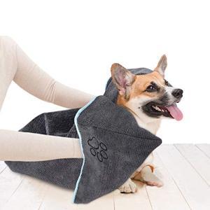 Sinland マイクロ ファイバー 超吸水 ペット用 タオル 犬 猫 体拭き タオル 40cmx100cm グレー|eshop-smart-market