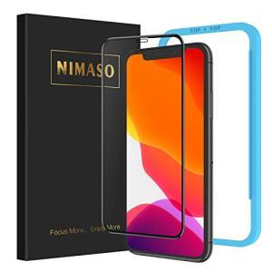 Nimaso iPhone 11 / iPhone XR 用 全面保護フィルム 強化ガラス ガイド枠...