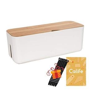 Calife 北欧インテリア 電源タップ&ケーブルボックス 5本シリコン製結束バンド付属 竹製&樹脂製 (M ホワイト)|eshop-smart-market