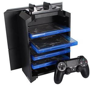 J-KONKY PS4多機能縦置きスタンド 12枚ソフト収納 コントローラー2台 置くだけ充電スタンド ブラック|eshop-smart-market