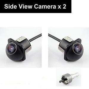車載サイドカメラ 2個入り高画質超小型 埋込型 角度調整 鏡像 側のバックカメラ ガイドライン無 ホールソー付 eshop-smart-market