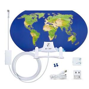 ANTOP 室内 地デジアンテナ UHF ブースター内蔵 中・弱電界用 3D地図デザイン 3m同軸ケ...