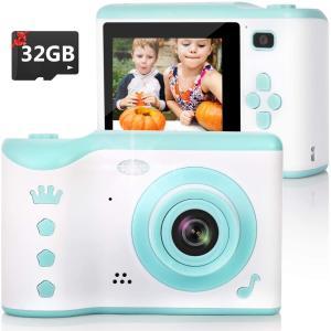 子供用 デジタルカメラ トイカメラ 1800万画素 2.8インチ 8.0MP デュアルカメラ 多機能 USB充電 知育 教育 3〜12歳の男女兼用 32GB SDカード付き (ブルー)|eshop-smart-market
