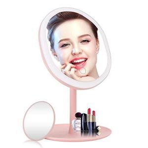LED化粧鏡 化粧ミラー 卓上led付き スタンドミラー 5倍拡大鏡付き 3色調光 明るさ調節可能 90°自由回転|eshop-smart-market