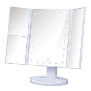 鏡 卓上 LED 三面鏡 化粧鏡 拡大鏡付き ライト付き メイクアップ かがみ 女優ミラー (ホワイト)|eshop-smart-market