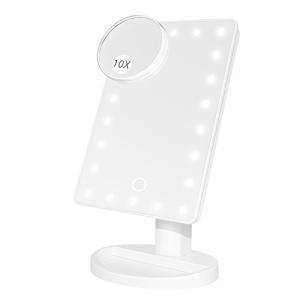 化粧鏡 化粧ミラー 22LEDライト付き 卓上鏡 Led 10倍拡大鏡付き スタンド USB 電池2way給電 180調整可能|eshop-smart-market