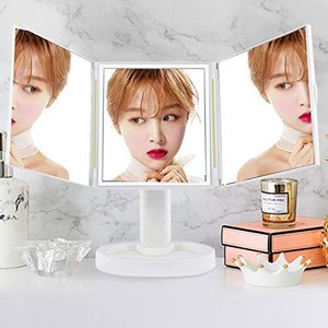 女優ミラー 化粧鏡 三面鏡 鏡 led 卓上ミラー 化粧ミラー 卓上スタンドミラー置き鏡 折りたたみ式 ledライト付き|eshop-smart-market