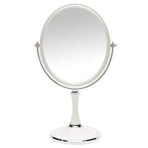 YEAKE 鏡 卓上 3倍拡大鏡 化粧鏡 スタンドミラー 卓上ミラー かがみ 女優ミラー 360度回転 3倍拡大鏡 平面鏡|eshop-smart-market