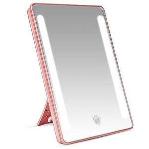LEEPWEI 鏡 卓上 化粧鏡 LEDライト付き スタンド/壁掛け両用 卓上ミラー 明るさ調整可能 180度回転 USB/電池給電|eshop-smart-market