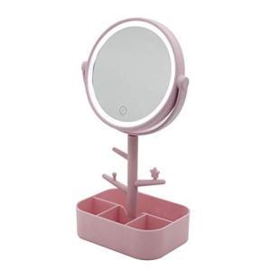 メイク用 化粧鏡 LEDライト 女優ミラー 小物入れ&アクセサリ収納 USB電源 乾電池でも使用可能 (ピンク)|eshop-smart-market