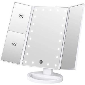 BESTOPE 化粧鏡 化粧ミラー 鏡 三面鏡 女優ミラー 卓上 led付き 折りたたみ 拡大鏡 2&3倍 明るさ調節可能 180℃回転|eshop-smart-market