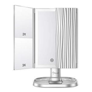 BESTOPE 化粧鏡 2色入 ライトミラー 記憶機能&3つの照明モード&2つのボタン 女優ミラー 最大量柔らかいLEDライト|eshop-smart-market