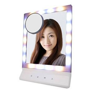 La Curie LED女優ミラー 鏡 暖色光&白色光 卓上ミラー 化粧鏡 10倍拡大鏡付き タッチパネル 3種色調モード 角度調整|eshop-smart-market
