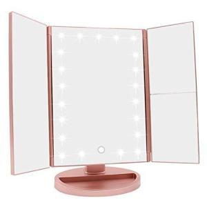 WEILY LED化粧鏡 卓上鏡 三面鏡 折りたたみ式 2倍&3倍拡大 女優ミラー 180度回転 ライト鏡 明るさ・角度自由調整|eshop-smart-market