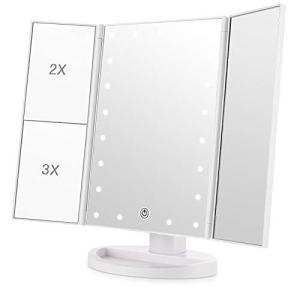 化粧鏡 化粧ミラー 鏡 21個LED三面鏡 女優ミラー 卓上 led付き 折りたたみ 拡大鏡 2&3倍 明るさ調節可能 180°回転|eshop-smart-market