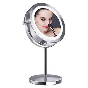 Gospire 拡大鏡10倍 LED拡大鏡 化粧鏡 LEDミラー 卓上ミラーled 化粧ミラー 360度回転ミラー LEDライト付きミラー|eshop-smart-market