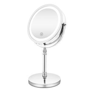 AMZTOLIFE 化粧鏡 10倍 拡大鏡 付き led ミラー LED 両面 鏡 卓上 スタンドミラー メイク 3 WAY給電 曇らないミラー|eshop-smart-market