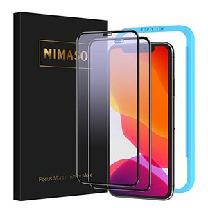 Nimaso iPhone 11/iPhone XR 用 全面保護フィルム 強化ガラス ブルーライト...