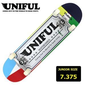ジュニア キッズ スケートボード コンプリート スケボー ユニフル UNIFUL KID'S LOGO BLUE 7.375インチ UNDC-010 子供用 完成品 eshop
