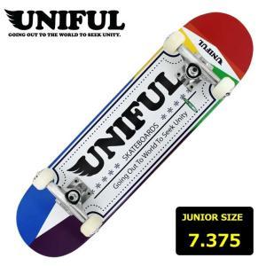 【40%OFF!!】ジュニア キッズ スケートボード コンプリート スケボー ユニフル UNIFUL KID'S LOGO RED 7.375インチ UNDC-011 子供用 eshop