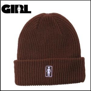 GIRL ガール ビーニー OG FOLD BROWN ニット帽 スケーター アパレル|eshop