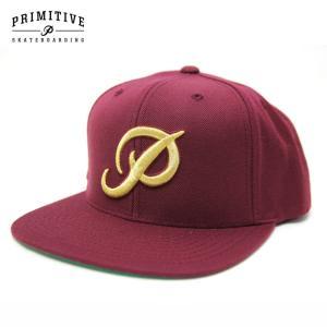 PRIMITIVE プリミティブ キャップ CLASSIC P SNAPBACK CAP GREY BURGUNDY スケーター ストリート|eshop