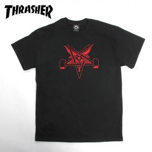 THRASHER スラッシャー スケート Tシャツ  BLACKOUT  BLACK/RED SKATE TEE スケボー|eshop