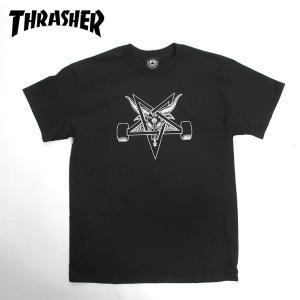 THRASHER スラッシャー スケート Tシャツ  BLACKOUT  BLACK/WHITE SKATE TEE スケボー|eshop