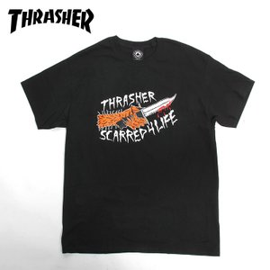 THRASHER スラッシャー スケート Tシャツ  SCARRED  BLACK SKATE TEE スケボー|eshop