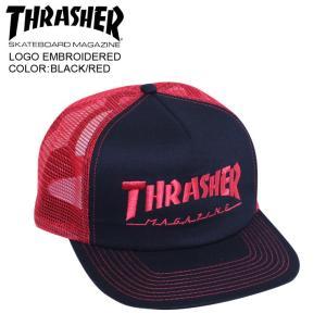 THRASHER スラッシャー メッシュ キャップ LOGO EMBROIDERED  BLACK/RED mesh cap|eshop