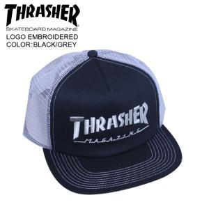 THRASHER スラッシャー メッシュ キャップ LOGO EMBROIDERED  BLACK/GREY mesh cap|eshop