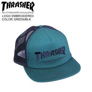 THRASHER スラッシャー メッシュ キャップ LOGO EMBROIDERED  GREEN/BLK mesh cap|eshop