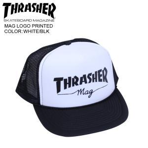 THRASHER スラッシャー メッシュ キャップ MAG LOGO PRINTED WHITE/BLK mesh cap|eshop