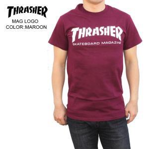 THRASHER スラッシャー メンズTシャツ MAG LOGO MAROON SKATE TEE|eshop